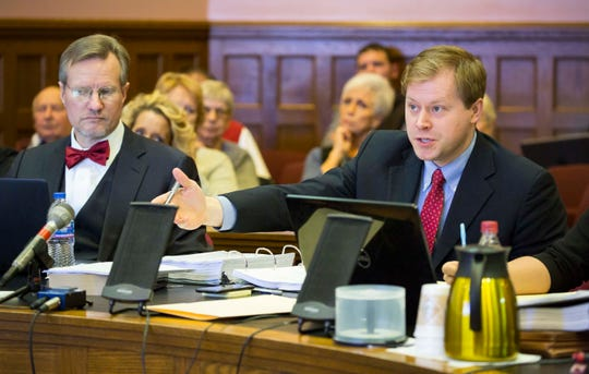 Attorney David Fautsch, right, objects during testimony by DetectiveReedKiouswith the Marion County Sheriff's OfficeTuesday, Dec. 11, 2018 at the Marion County Courthouse in a hearing on whether a $10 million wrongful death judgment against Jason Carter should be overturned.