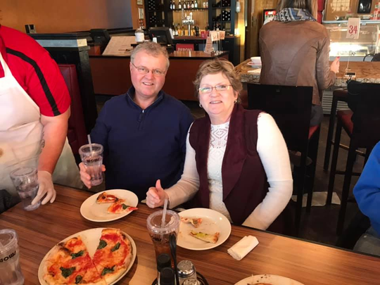 Dan & Barbara Wicks enjoying RedRossa Napoli Pizza in Clive, a recent stop on a Wow! Des Moines Pizza Tour.