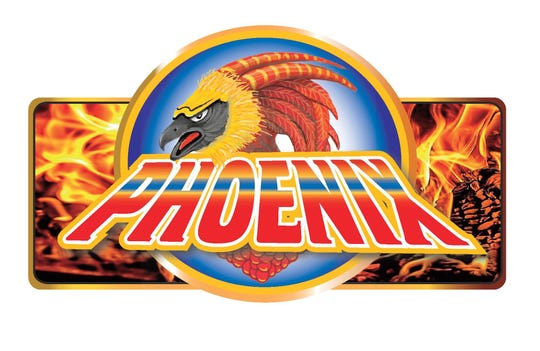 "Logo for the ""Phoenix,"" a new roller coaster at Adventureland."
