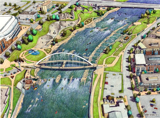 A view of the Iowa Women of Achievement Bridge in the Greater Des Moines Water Trails plan. This area will feature whitewater rafting and kayaking, and out-of-water activities like zip-lining and rock climbing.
