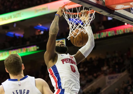 Andre Drummond dunks against the 76ers during the first quarter at Wells Fargo Center on Monday.