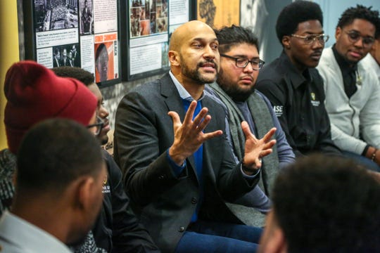 Actor Keegan-Michael Key talks with young African-American men from Wayne State University during a talk at Motown Museum in Detroit on Tuesday, Dec. 11, 2018.