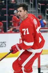 Detroit Red Wings center Dylan Larkin before the game against the Los Angeles Kings at Little Caesars Arena, Dec. 10, 2018