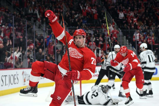 Detroit Red Wings center Dylan Larkin celebrates his goal during the second period against the Los Angeles Kings at Little Caesars Arena, Dec. 10, 2018.