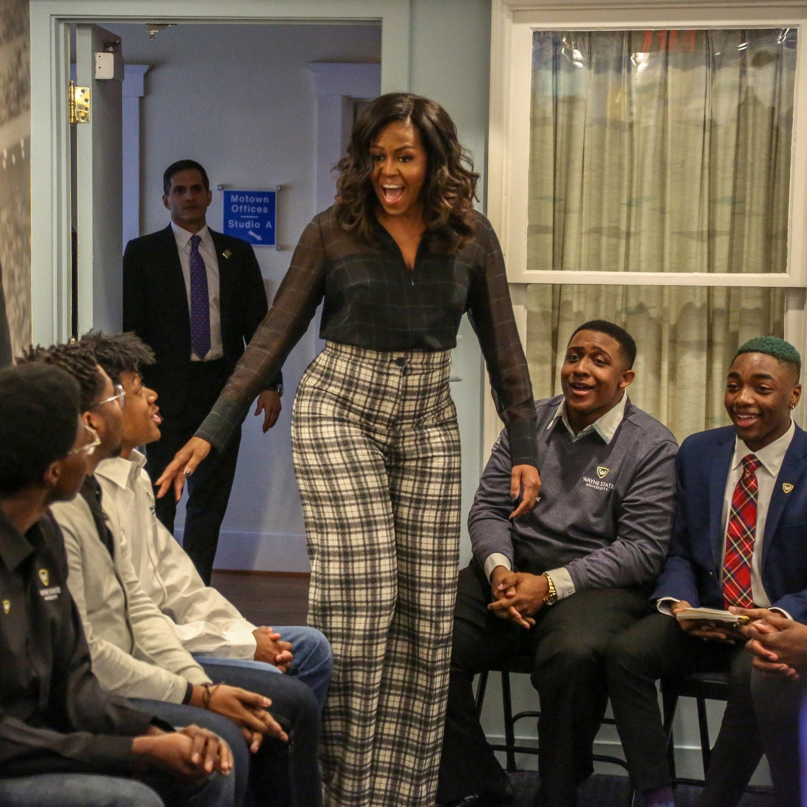 Michelle Obama stuns Wayne State Uni. students at the Motown Museum