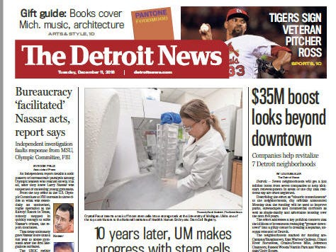 The front page of The Detroit News on Tuesday, December 11, 2018.