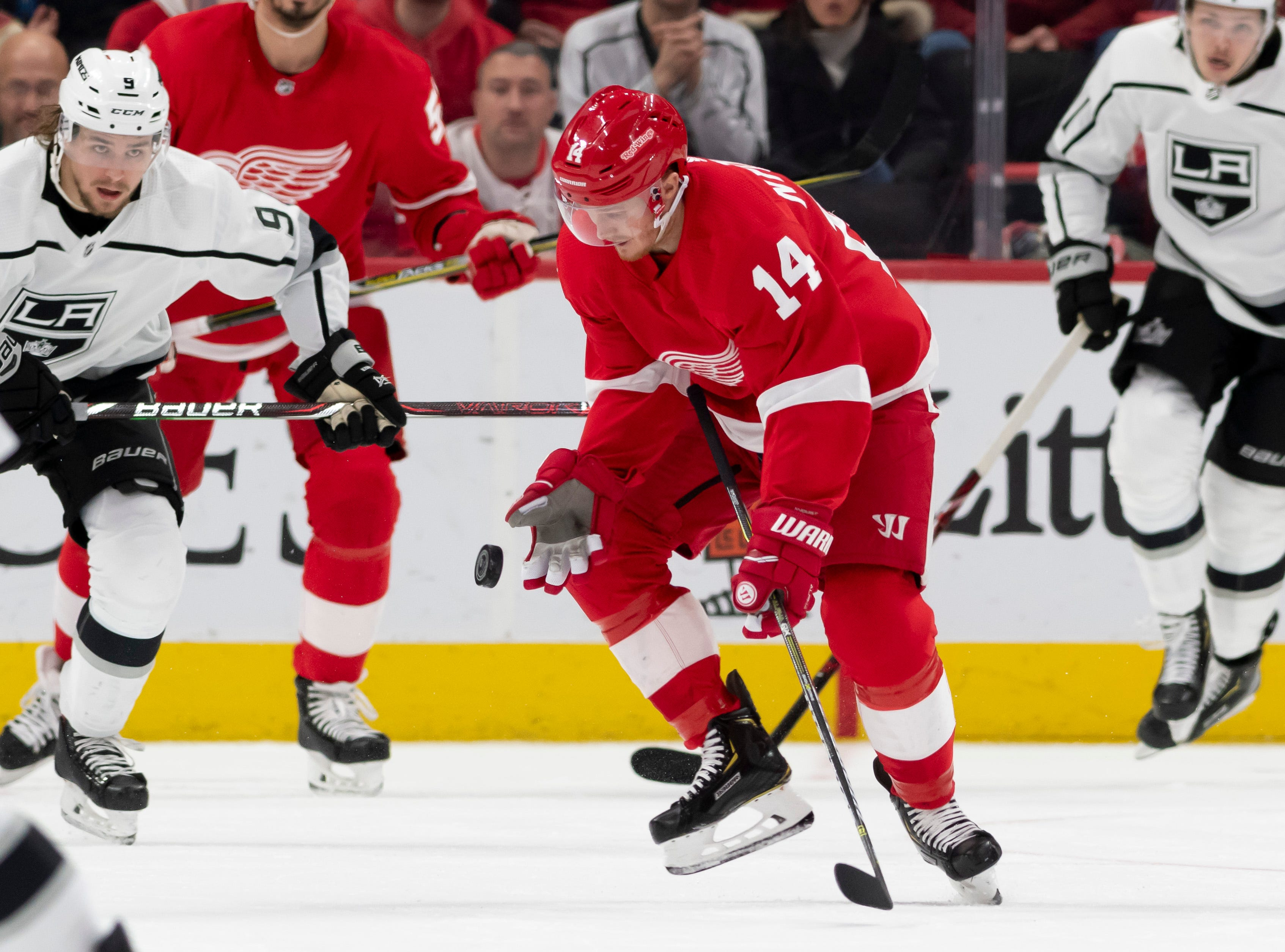Detroit center Gustav Nyquist tries to stop a bouncing puck in the third period.