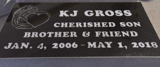 This is the finished headstone for KJ Gross.