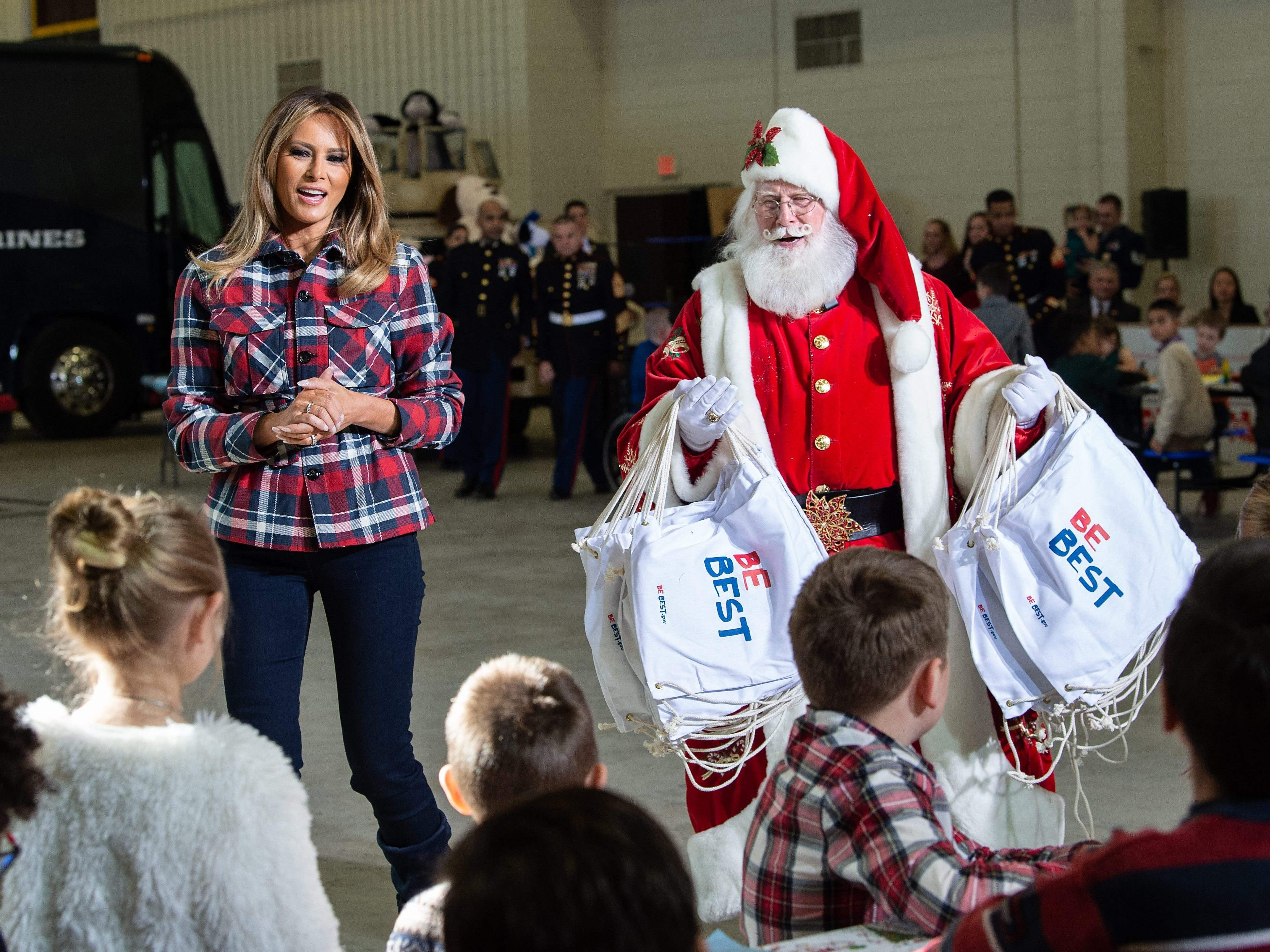 First lady Melania Trump attends a Toys for Tots event at Joint Base Anacostia-Bolling in Washington, D.C., on Dec. 11, 2018.