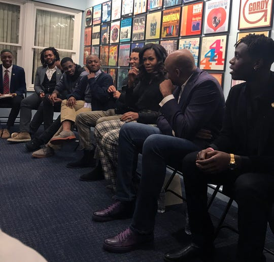 "Michelle Obama made a surprise stop at the Motown Museum on Tuesday ahead of her ""Becoming: An Intimate Conversation with Michelle Obama"" book tour Tuesday night at Little Caesars Arena."