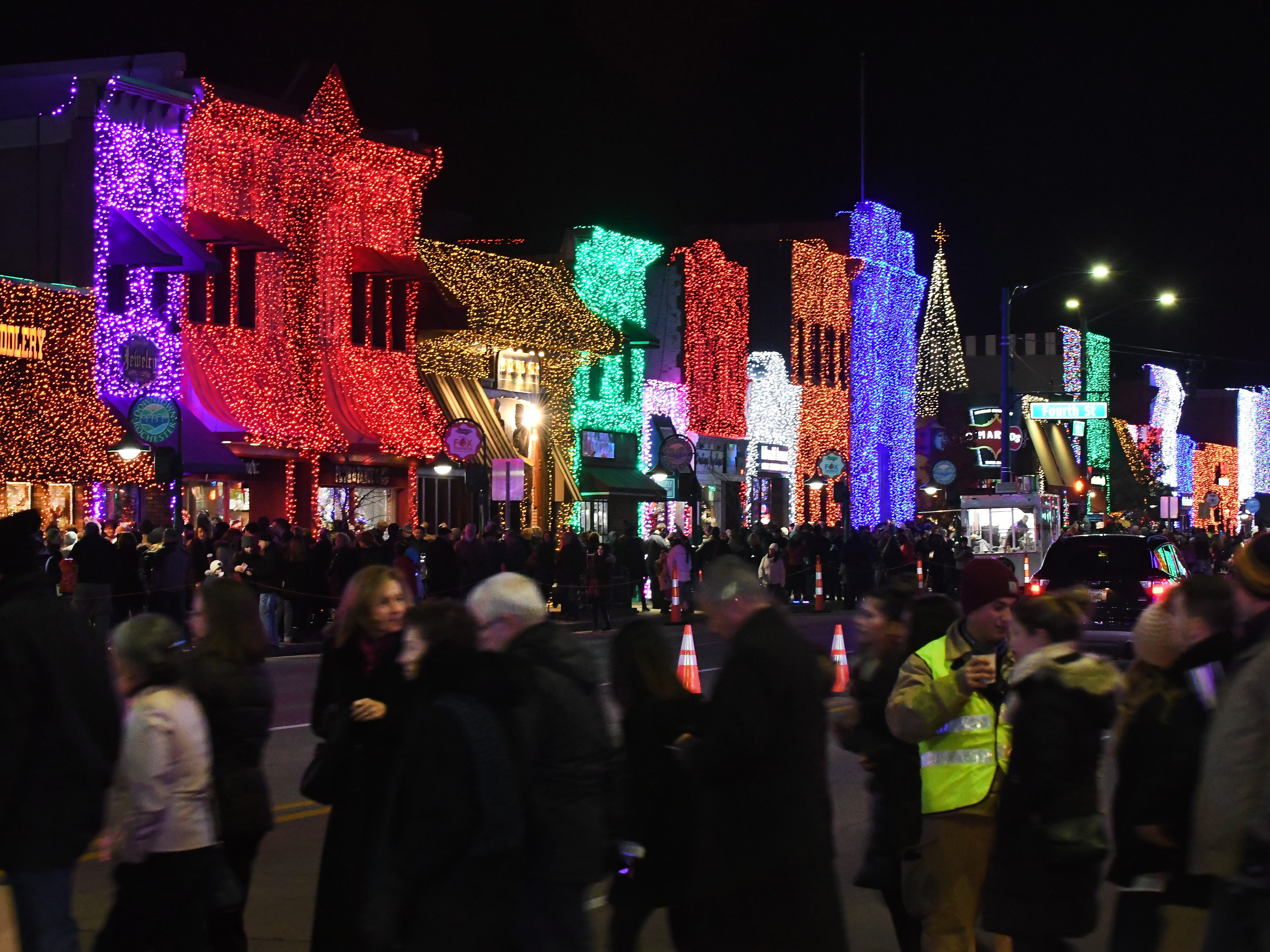 Downtown Rochester draws crowds during rhe Big, Bright Light Show on Monday, Nov. 18, 2018.