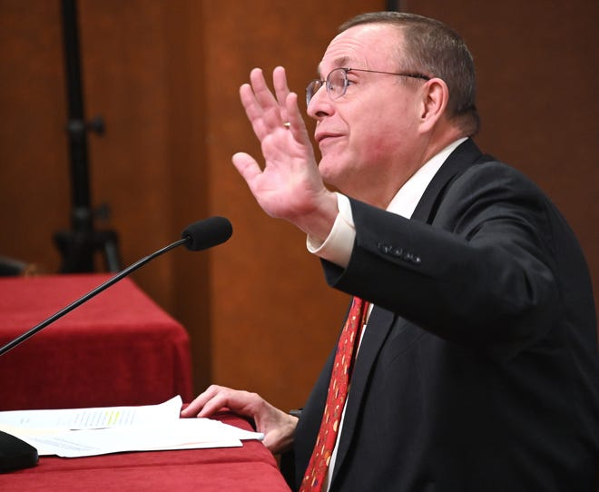 Michigan Representative Rob VerHeulen (R-Walker) testifies before the Senate committee on Governmental Operations on Tuesday, Dec. 11, 2018 in the Capitol building in Lansing. VerHeulen's bill would make it easier for the legislature to pursue legal action on it's own, without the state Attorney General.