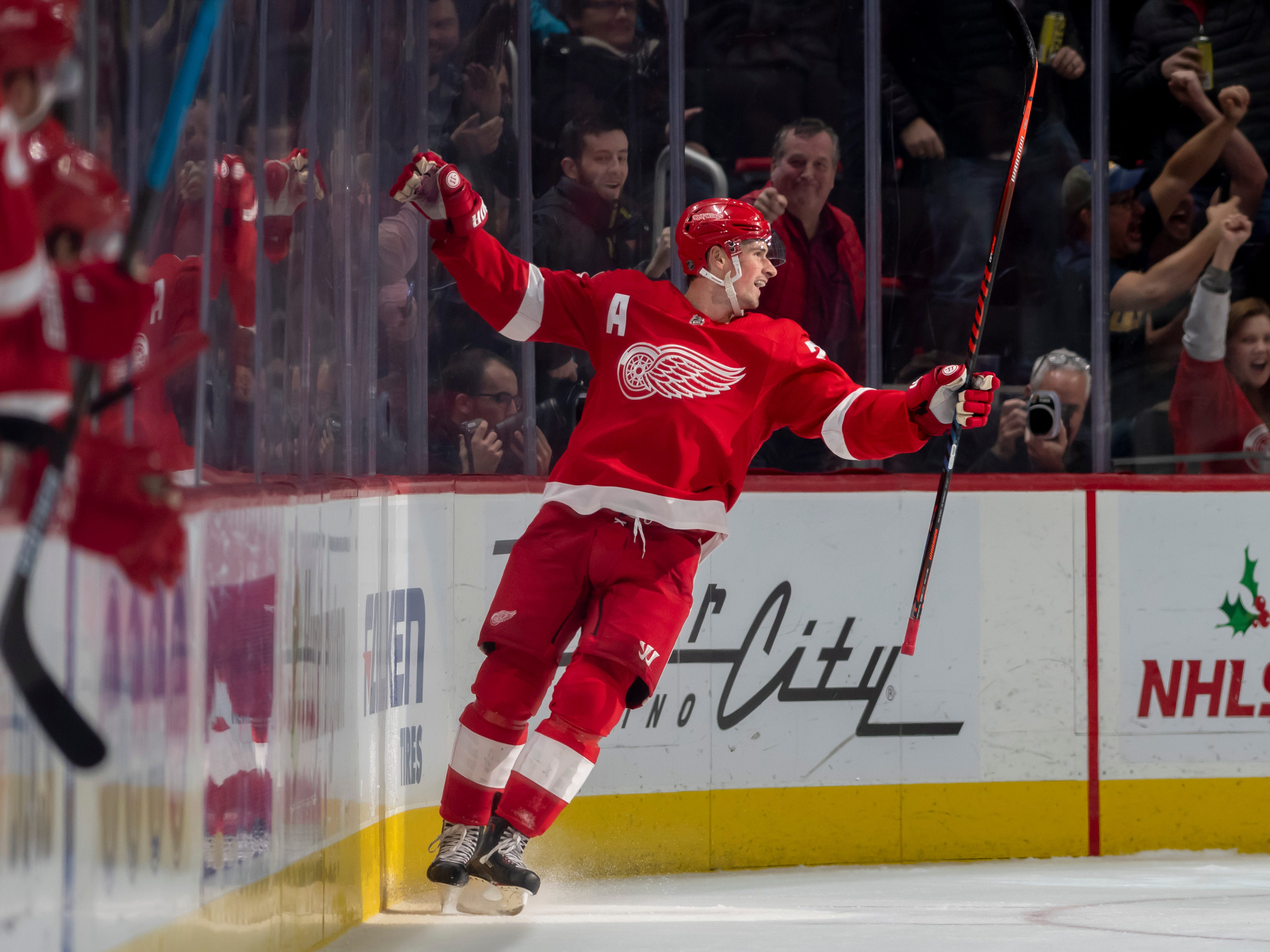 Detroit center Dylan Larkin celebrates after scoring in the second period.