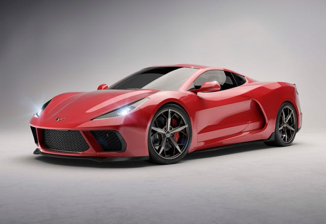A Car and Driver rendering of the 2020 Corvette C8 - the first mid-engine version of the storied Chevy sports car.