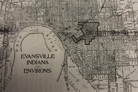 In 1925, the outlined area represented primary black residential areas.