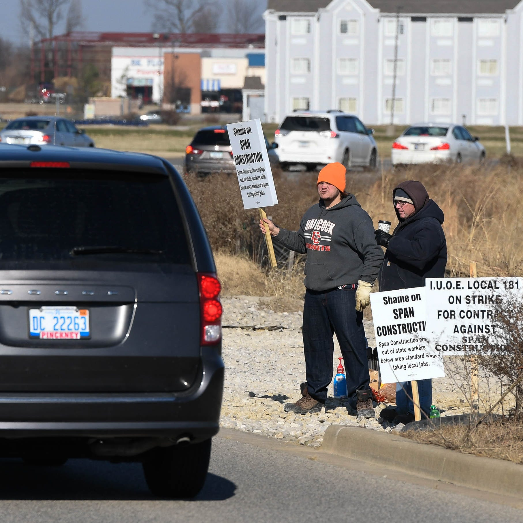 Local unions picket Costco Wholesale construction site in Evansville