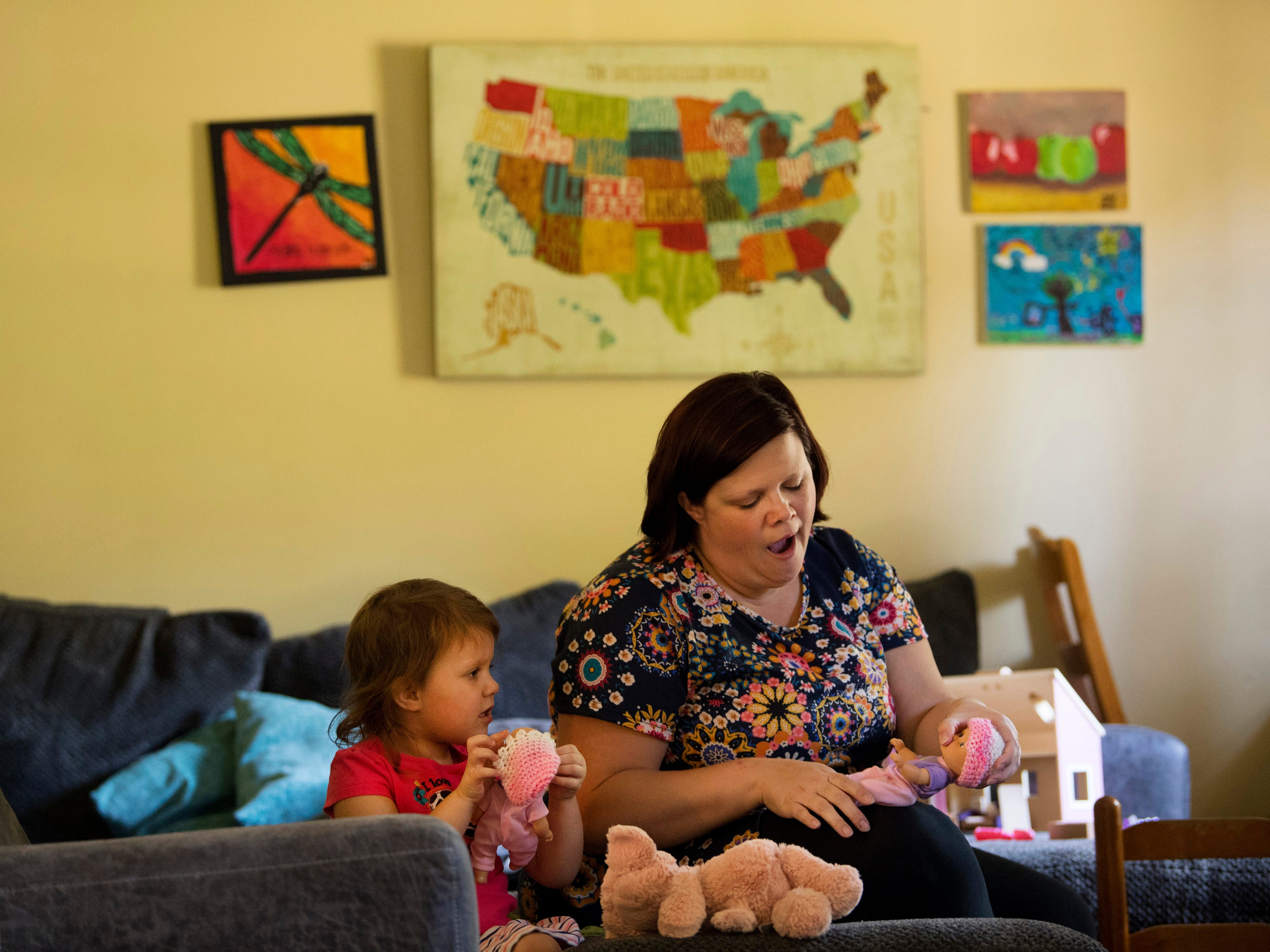 Finding a balance between spending time with her four older children, including Jacinda, 3, shown playing dolls, and visiting her twin girls in The Women's Hospital's neonatal intensive care unit, proved exhausting for Heather Harper of Newburgh, Ind. The twins spent 105 days in the NICU and another eight days at Riley's Children's Hospital before finally getting to come home on Nov. 20, 2018. They were nearly four months old.