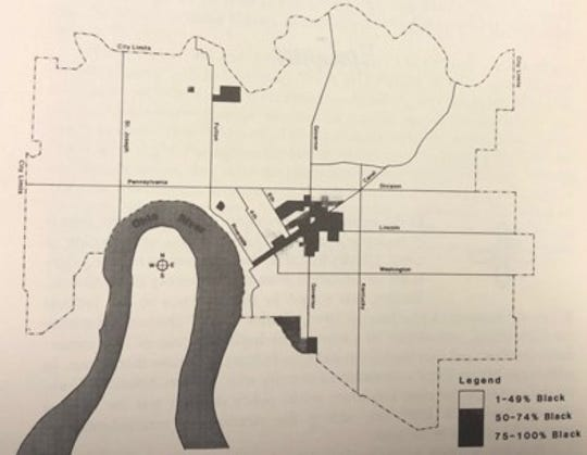 In 1950, the darker areas represented primary black residential areas.