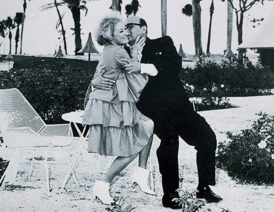 "Phyllis Diller and Jack E. Leonard in a publicity photo for the 1966 movie comedy ""The Fat Spy."" Photo courtesy of the Cape Coral Historical Society and Museum."
