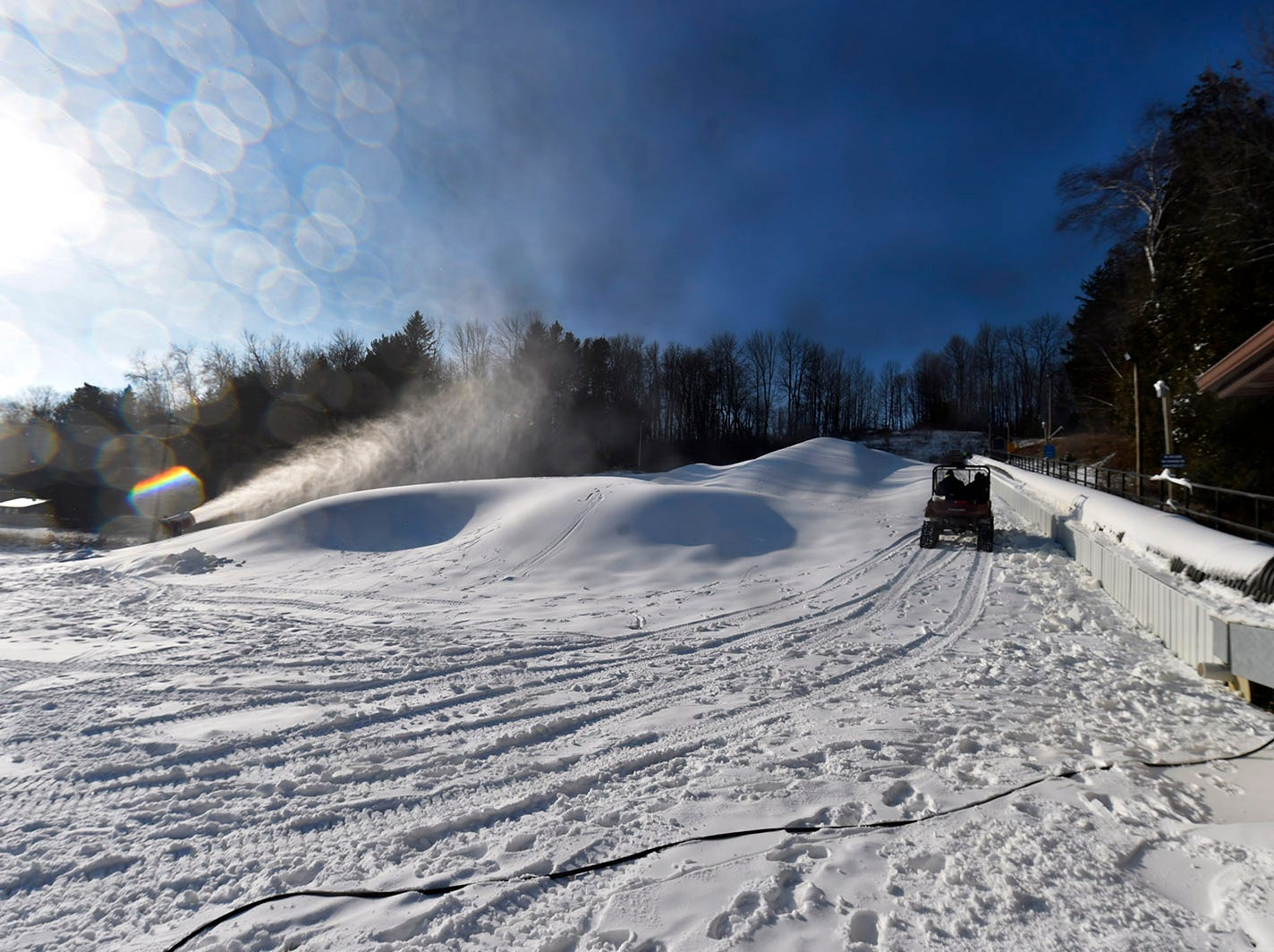Snow guns building a snow base at Winter Park in Kewaunee on Dec. 10, 2018. Tina M. Gohr/USA TODAY NETWORK-Wisconsin