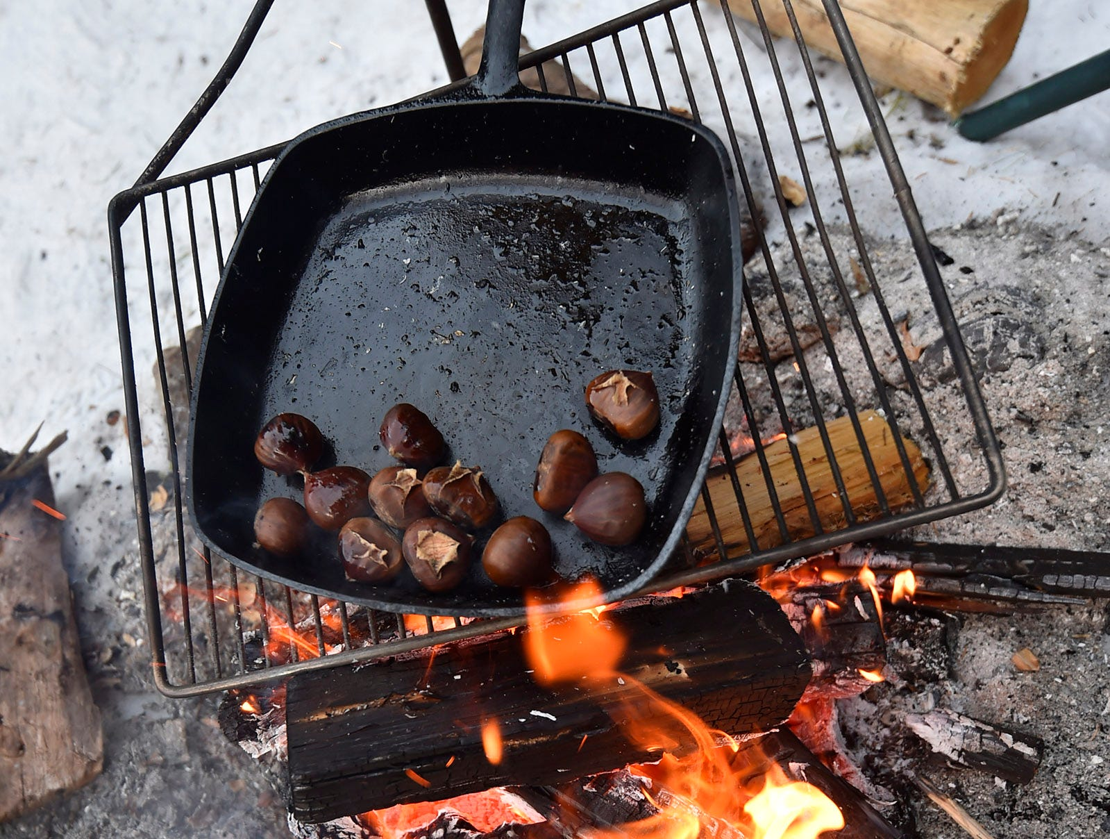 Roasting chestnuts over an open fire during Natural Christmas at The Ridges Sanctuary, Baileys Harbor, on Saturday, Dec. 8, 2018. Tina M. Gohr/USA TODAY NETWORK-Wisconsin
