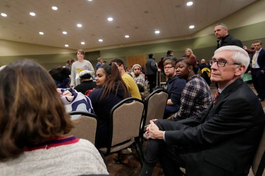 Gov.-elect Tony Evers listens to input from community members on the state's budget priorities Tuesday at UW-Green Bay.