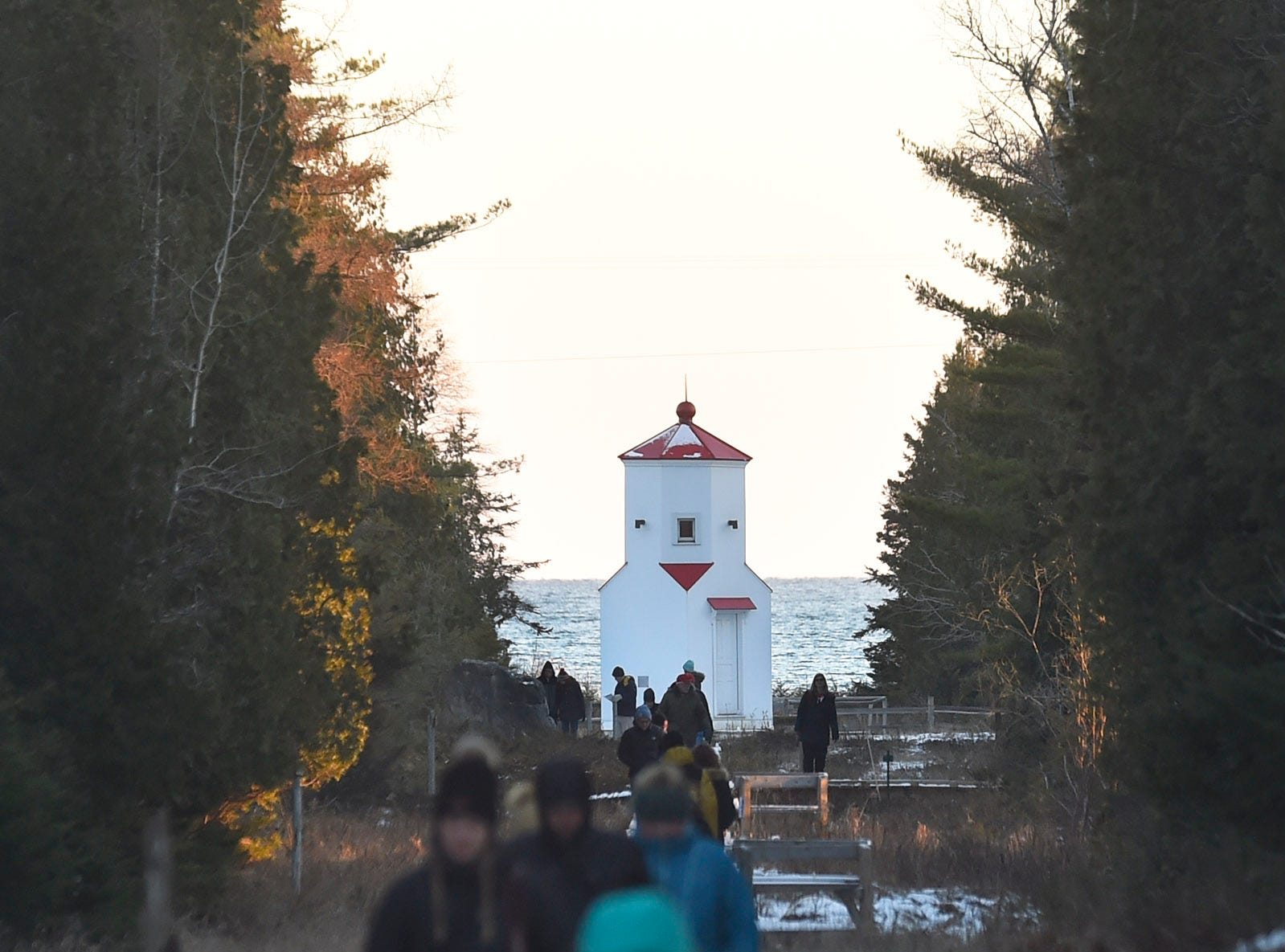 View of the lower Range Light from the upper light during Natural Christmas at The Ridges Sanctuary, Baileys Harbor, on Saturday, Dec. 8, 2018. Tina M. Gohr/USA TODAY NETWORK-Wisconsin