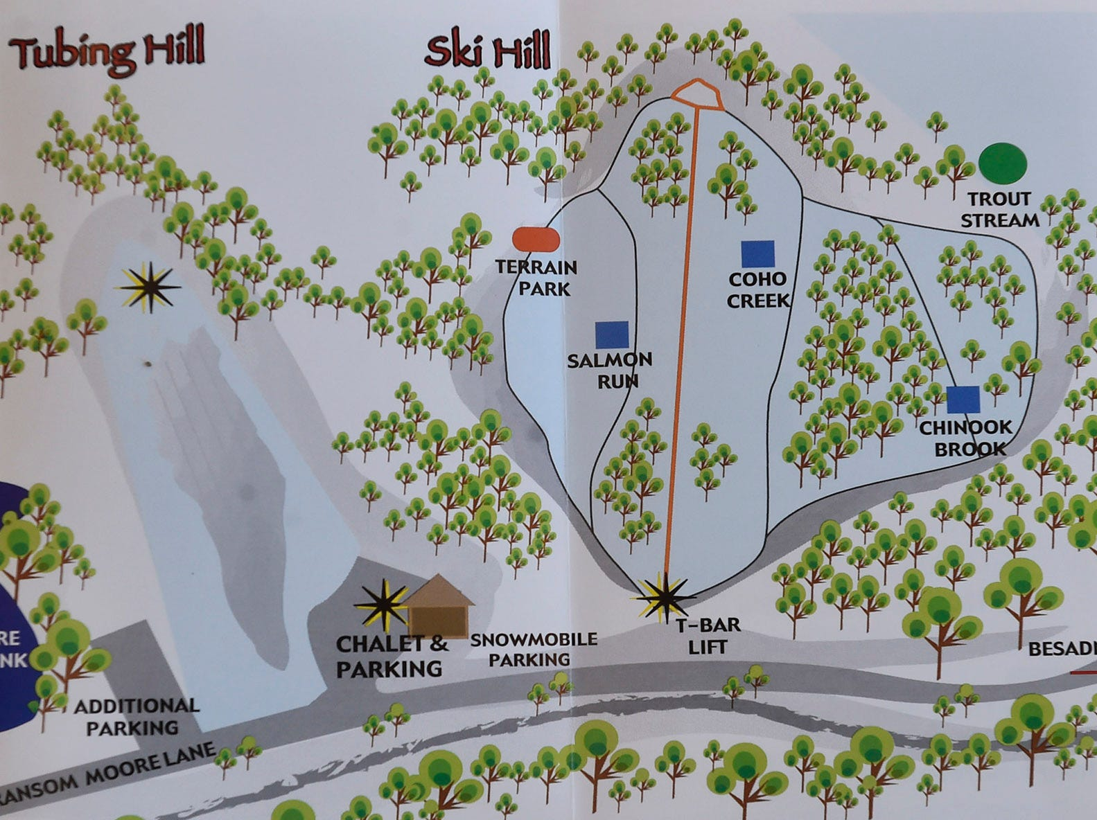 Map of both the tubing and ski hills at Winter Park in Kewaunee. The tubing hill is a 70-foot vertical drop and the ski/snowboarding hill drops 160 feet. Tina M. Gohr/USA TODAY NETWORK-Wisconsin