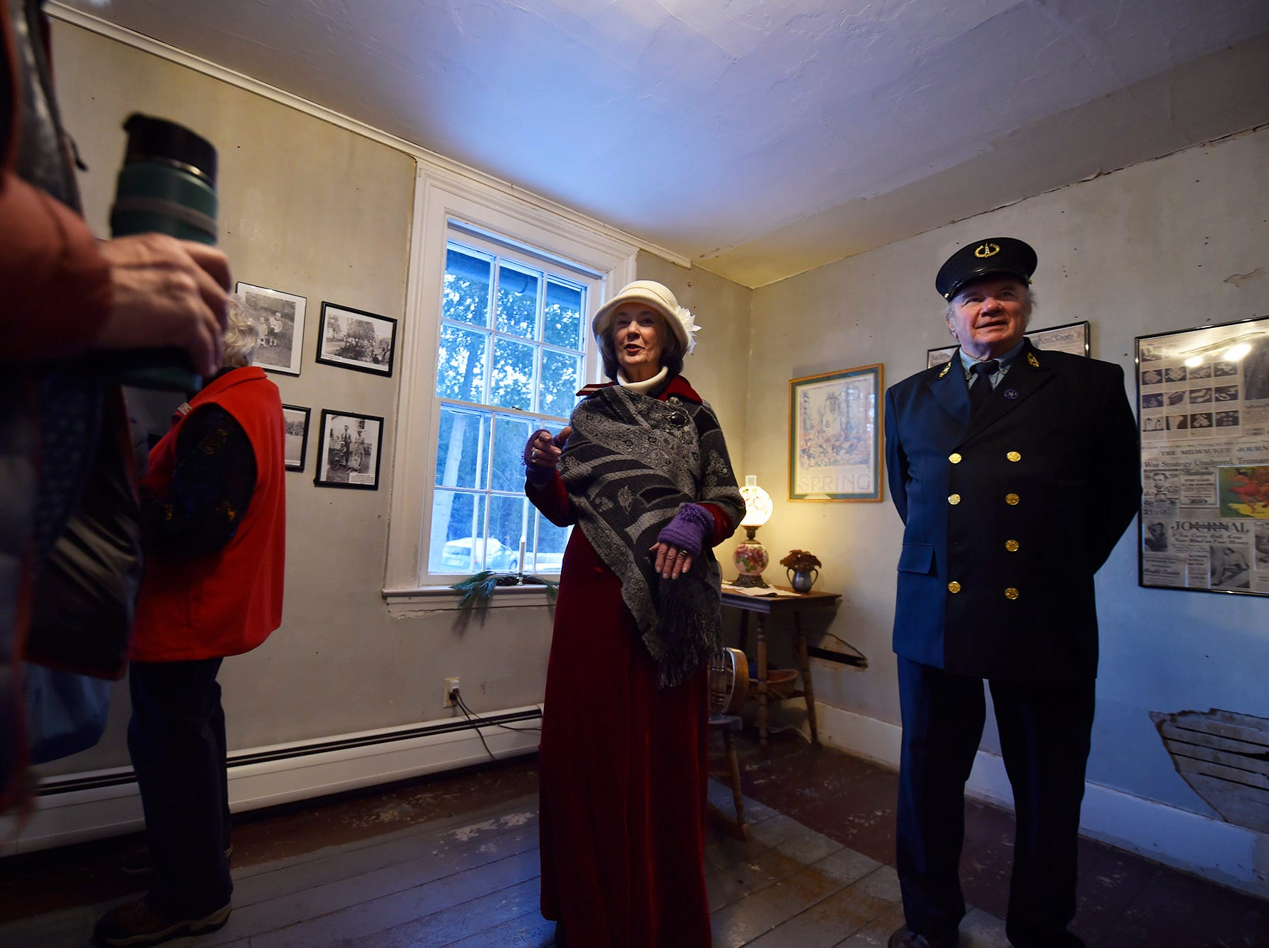 Portraying lightkeepers Henry and Eve Gattie (Ed Miller and Ann Sullivan), the couple provides information and tours of the newly renovated and remodeled upper Range Light during Natural Christmas at The Ridges Sanctuary, Baileys Harbor, on Saturday, Dec. 8, 2018. Tina M. Gohr/USA TODAY NETWORK-Wisconsin