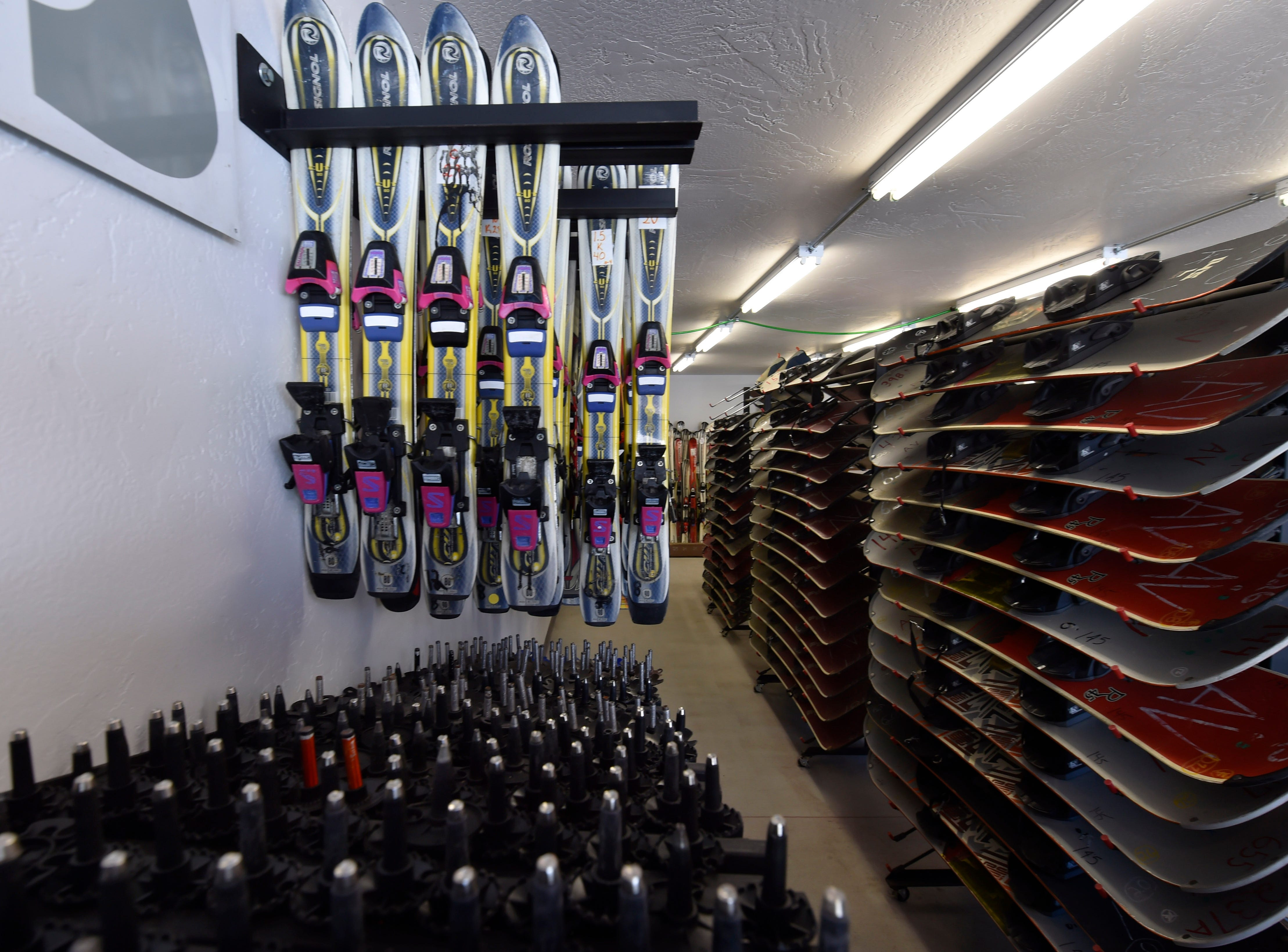 Poles, skis and snowboards for rent at Winter Park in Kewaunee. Tina M. Gohr/USA TODAY NETWORK-Wisconsin