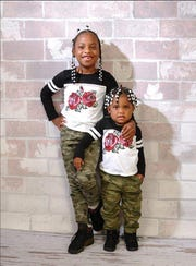 Robbiana Evans, 6 and Ar'mani Jamison, 2