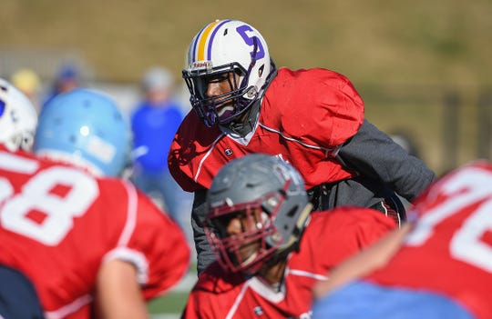 Swansea linebacker Gregory Williams (35) practices with the South Carolina team during Shrine Bowl practice Tuesday, December 11, 2018 at Spartanburg High.