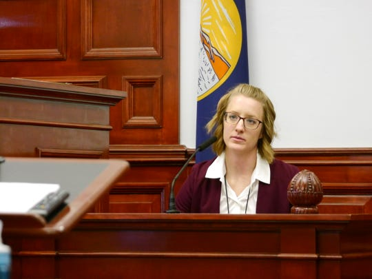 Great Falls Police Department Detective Katie Cunningham testifies Monday at the sentencing hearing of Michael Christian Echeverria.
