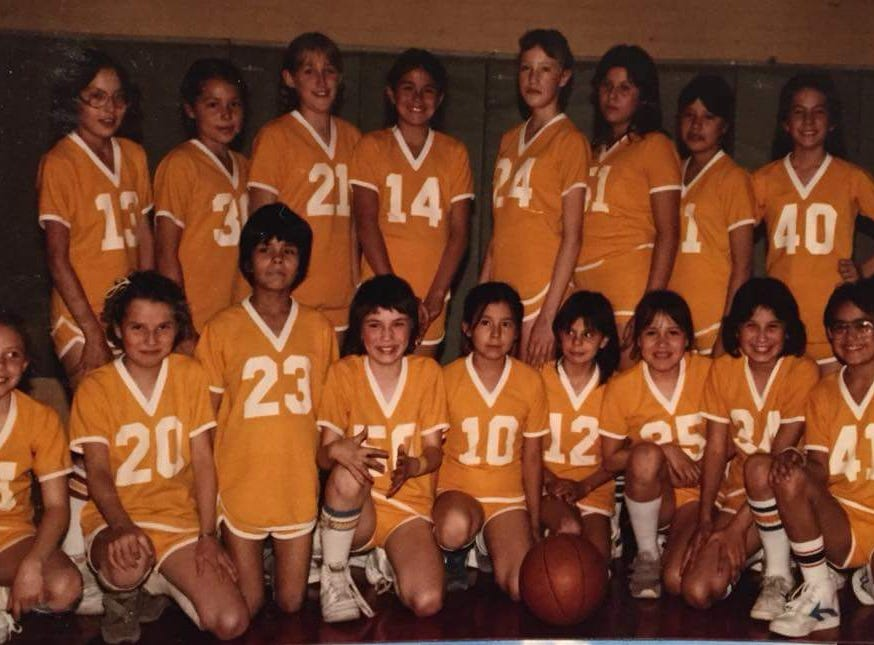 This Browning team of fourth and fifth-graders included Malia Kipp (14), who went on to become a star in high school and college with the Montana Lady Griz. Malia was a fourth-grader. This team, coached by Poor Boy Croff, marked Malia's first organized squad. Also pictured, according to Poor Boy, are, back row from left, Leonda Burd, Brenda Carlson, Molly McLoughlin, Malia Kipp, Daisy Galbreath, Toni Brown, Sherry Nevins and Melanie Augare. Bottom, from left, are Angie Bruno, Memroy Heisal, Roda BirdRattler,  Billie Jo Monroe, Kim Morgan, Laurie Brown, Myra Cadotte, Michelle Bird and Misty Hall.