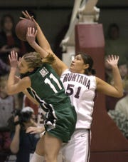 Tamara Guardipee of the Montana Lady Griz, right, blocks a shot by Portland State's Kelsey Kahle in 2006. Guardipee is among the Great Falls Tribune's top 10 girls' basketball players of all-time at Browning High.