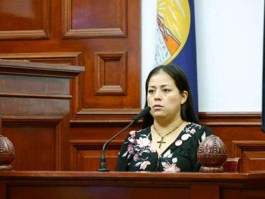 Daisy Chavez, sister of Michael Christian Echeverria, testifies at Monday's sentencing hearing in her brother's assault case.