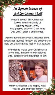 The special note given out to each turkey recipient in memory of Ashley Marie Shell
