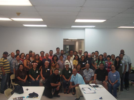 The Guam Soil and Water Conservation Districts in collaboration with the USDA Natural Resource Conservation Service bring Guam's farmers together to learn more about the conservation technical and financial assistance available through the NRCS. The farmer outreach event was held Nov. 28 at the Hågatña Mayor's Office. Adam Reed , USDA NRCS assistant director field operations for the Pacific Islands Area, facilitated the presentation on the Environmental Quality Incentives Program and how farmers, ranchers, and private forest land owners can sign-up for the program. A total of 34 farmers attended the event with special guest   epresentatives in attendance to include: Melissa Savarez, Mayor of Dededo; and Rudy Paco, Mayor of Mongmong-Toto-Maite; Benny Chargualaf, SGSWCD chairman; Angelita Mendiola, SGSWCD vice-chairwoman; Carol Tayama, SGSWCD director; Michael Aguon, SGSWCD director; Joseph Santos, NGSWCD chairman (acting); Hope Cristobal, NGSWCD director; Jocelyn Bamba, NRCS district conservationist; Thomas Camacho, USDA Farm Service Agency County exec. director; Jeffrey Flores, USDA Animal Plant Health Inspection Service- Wildlife Services program manager.