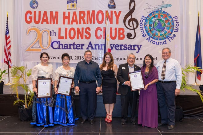 Lion Senator Louise Muna of the 34th Guam Legislature presented a legislative resolution to Guam Harmony Lions Club of Lions Clubs International District 204 for the legacy of achievements in the span of 20 years.  Pictured from left: event overall coordinator Region 1 Chair Loisa Cabuhat, Charter President and Past District Governor Lynda Tolan, Honorary Member, Governor of Guam Eddie Baza Calvo, Muna, current District Governor Danny Cruz, current President MiChelle Hope Taitano and Privileged Member Presiding Judge Alberto Lamorena III.