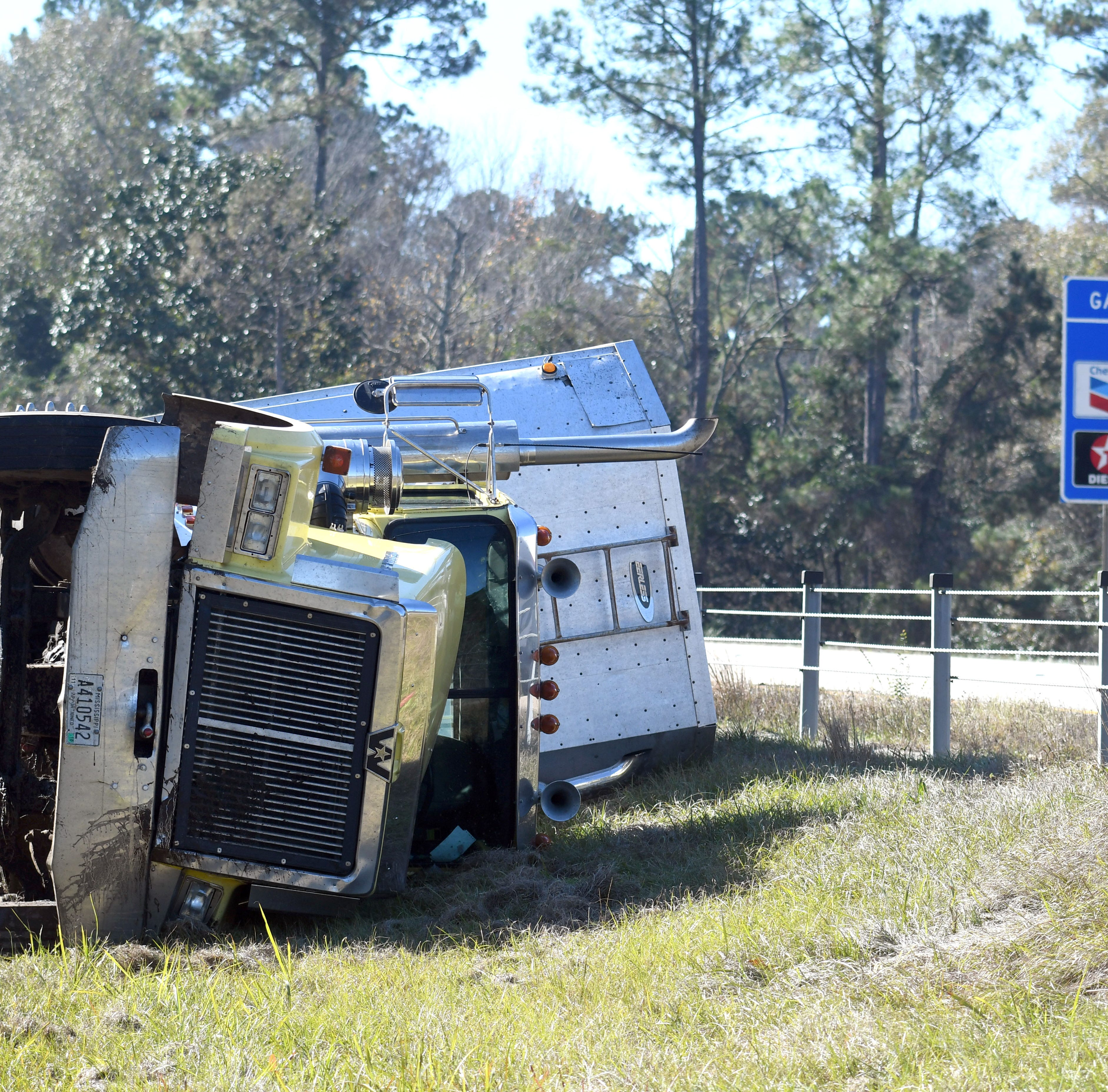Expect traffic delays after 18-wheeler overturns in median on I-59 in Hattiesburg