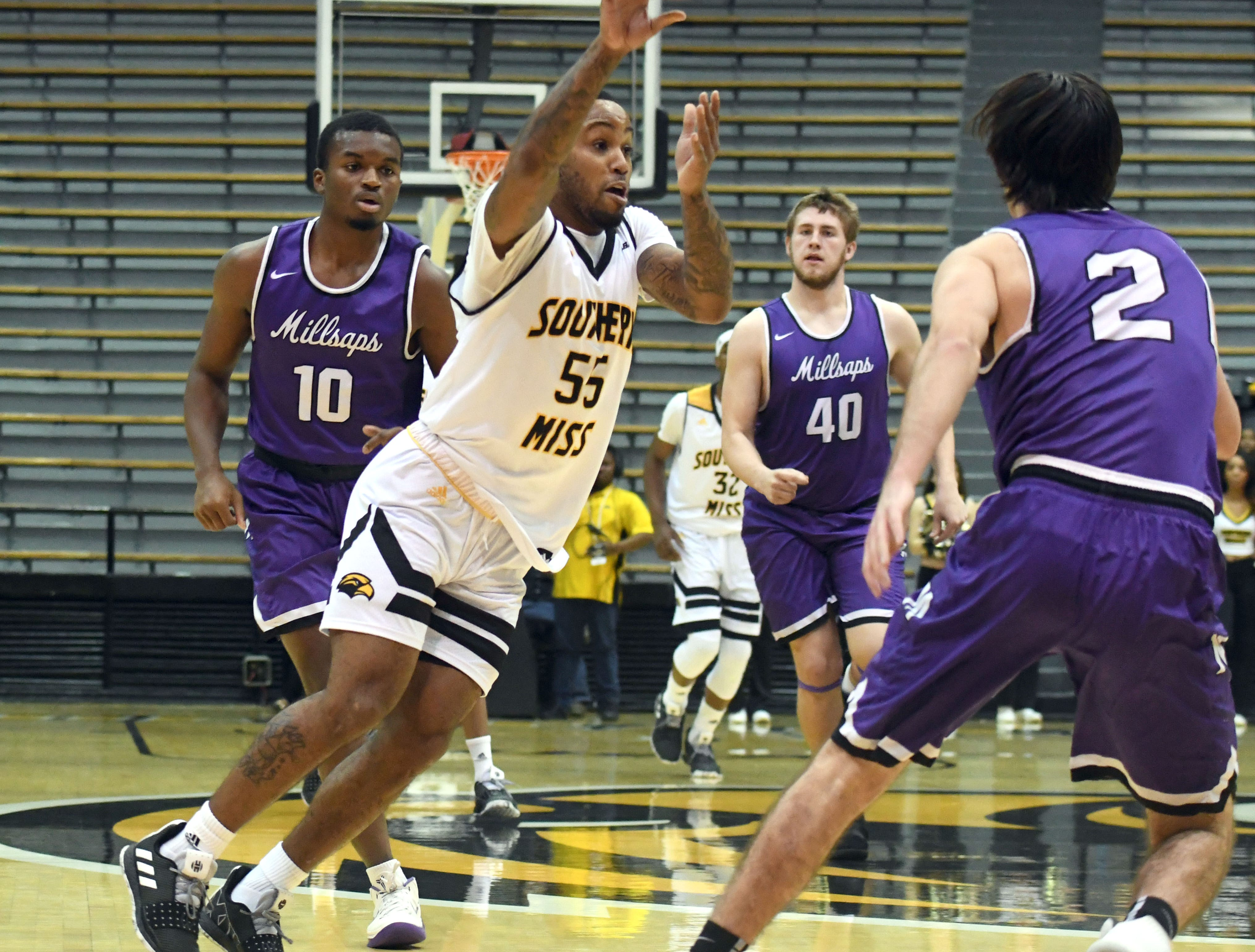 Southern Miss guard Tyree Griffin drives down the court in a game against Millsaps in Reed Green Coliseum on Tuesday, December 11, 2018.