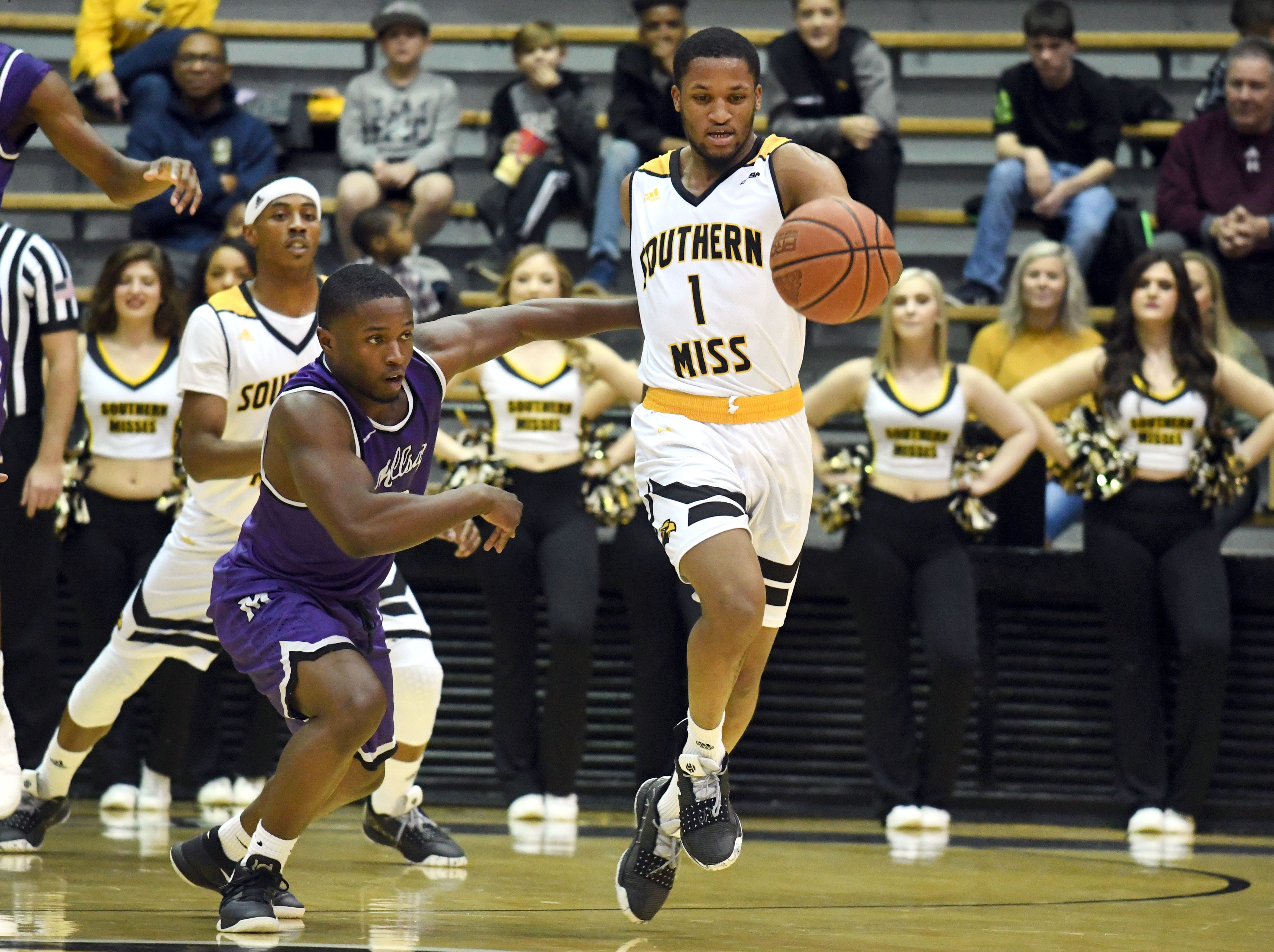 Southern Miss guard Cortez Edwards steals the ball in a game against Millsaps in Reed Green Coliseum on Tuesday, December 11, 2018.