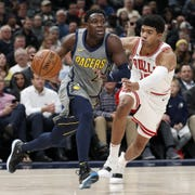 Pacers guard Darren Collison (2) drives on Chicago Bulls forward Chandler Hutchison (15) in the first half of their game at Bankers Life Fieldhouse on Tuesday, Dec. 4, 2018.