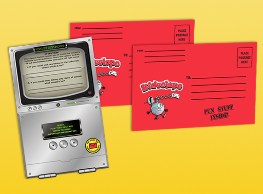 Kids & grown-ups use the envelopes & Communicator to send secret information back & forth in the mail.