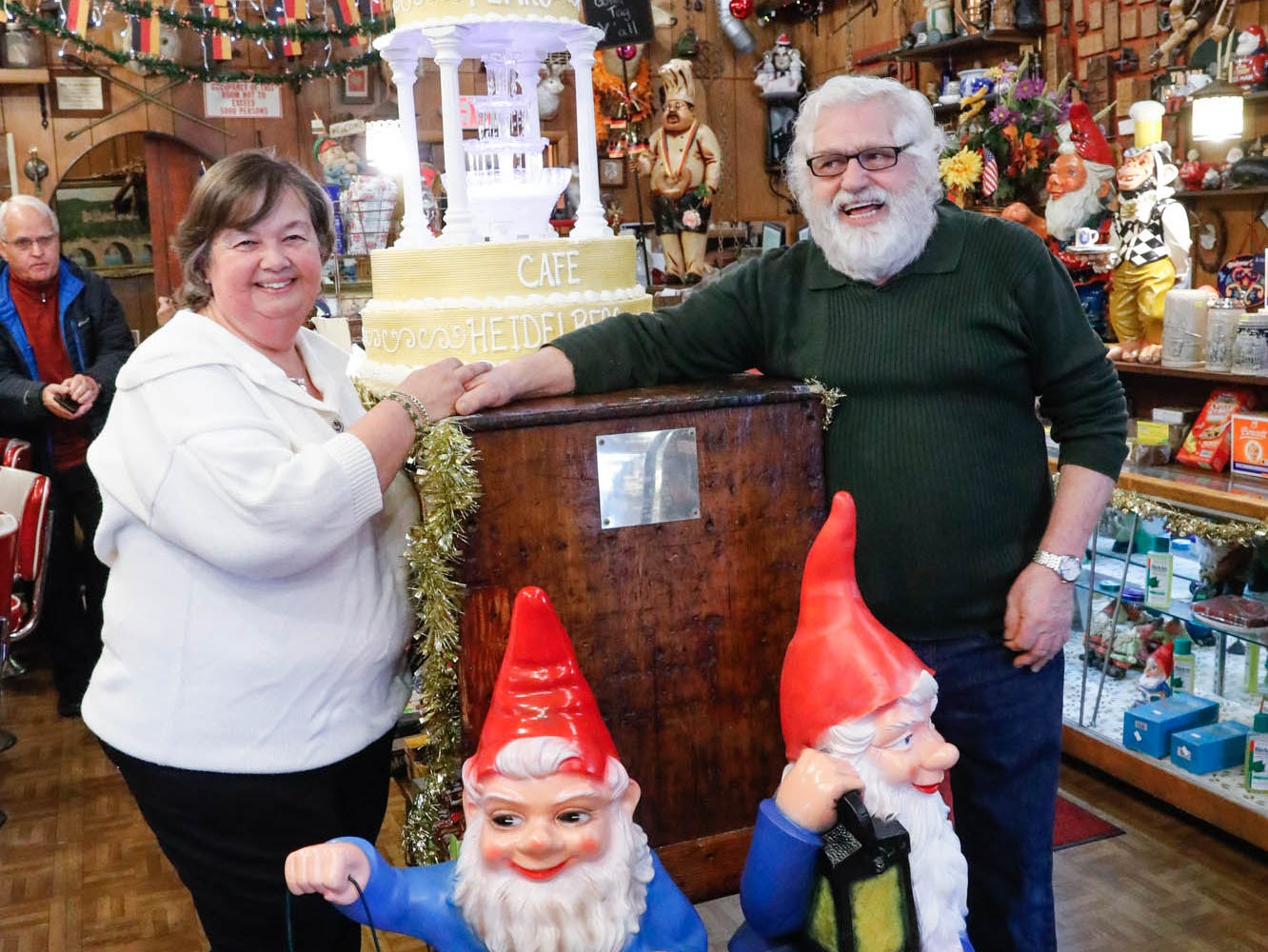 "Heidelberg Haus Cafe and Bakery owners Gabi, left, and  Juergen ""JJ"" Jungbauer celebrate the Cafe's 50th year in business with a  party on Saturday, Dec. 8th, 2018. The business is a family affair with multiple members on staff."