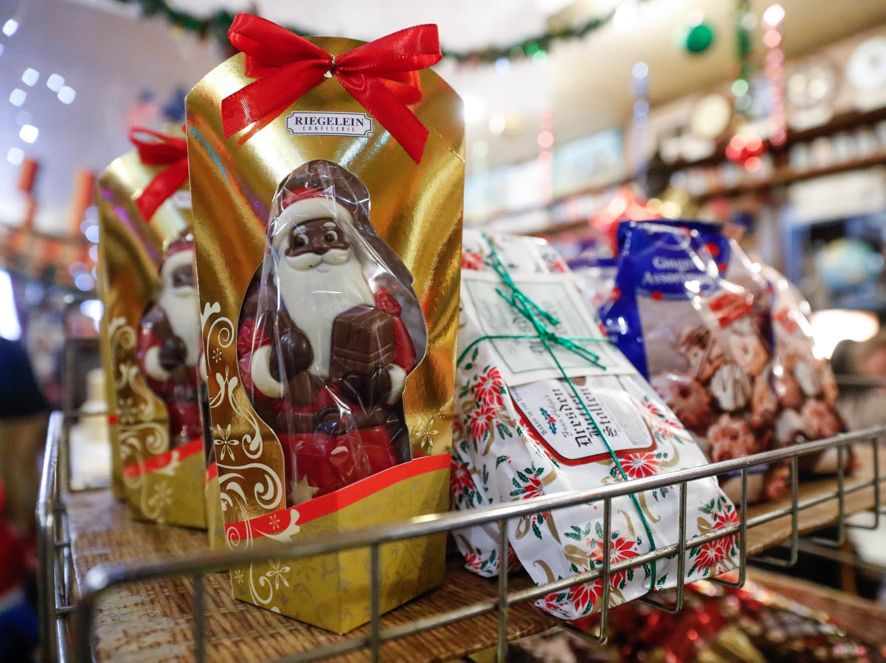 Chocolate Santa's are for sale at the Heidelberg Haus Cafe and Bakery, 7625 Pendleton Pike, Indianapolis Ind., on Saturday, Dec. 8th, 2018. The cafe, bakery, and German grocery are well known for its extensive collection of German Kitsch.