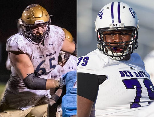 Bishop Dwenger's Joe Tippmann (left) and Ben Davis' Dawand Jones (right) are the state's top offensive linemen.
