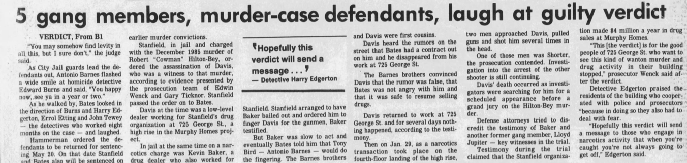 The April 2, 1987 edition of The Baltimore Sun noted Barnes and his crew laughing at the guilty verdicts they received.