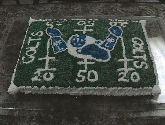 A Colts-themed cake designed by Antonio Barnes.