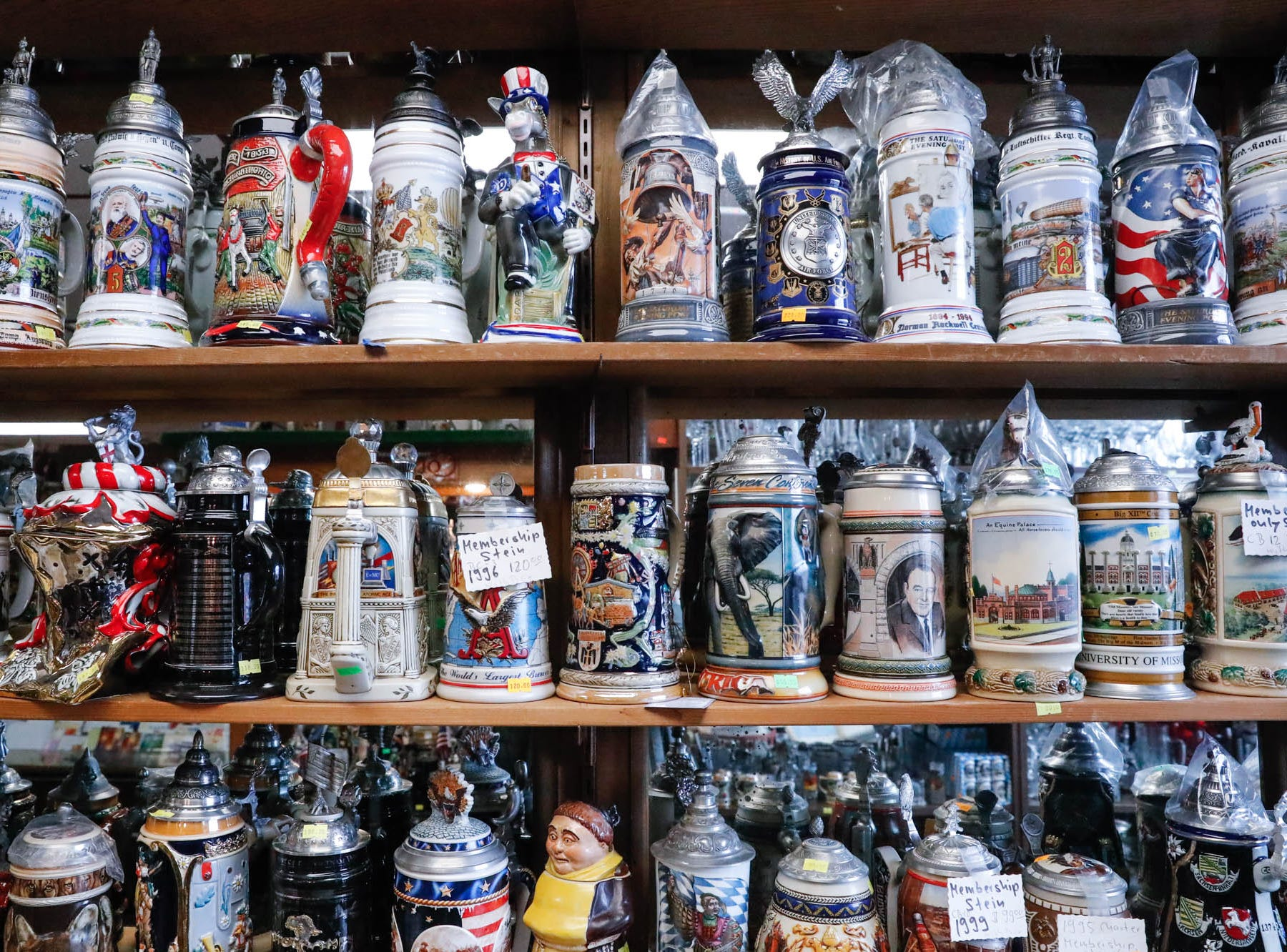 German beer steins are for sale at the Heidelberg Haus Cafe and Bakery, 7625 Pendleton Pike, Indianapolis Ind., on Saturday, Dec. 8th, 2018. The cafe, bakery, and German grocery are well known for its extensive collection of German Kitsch.
